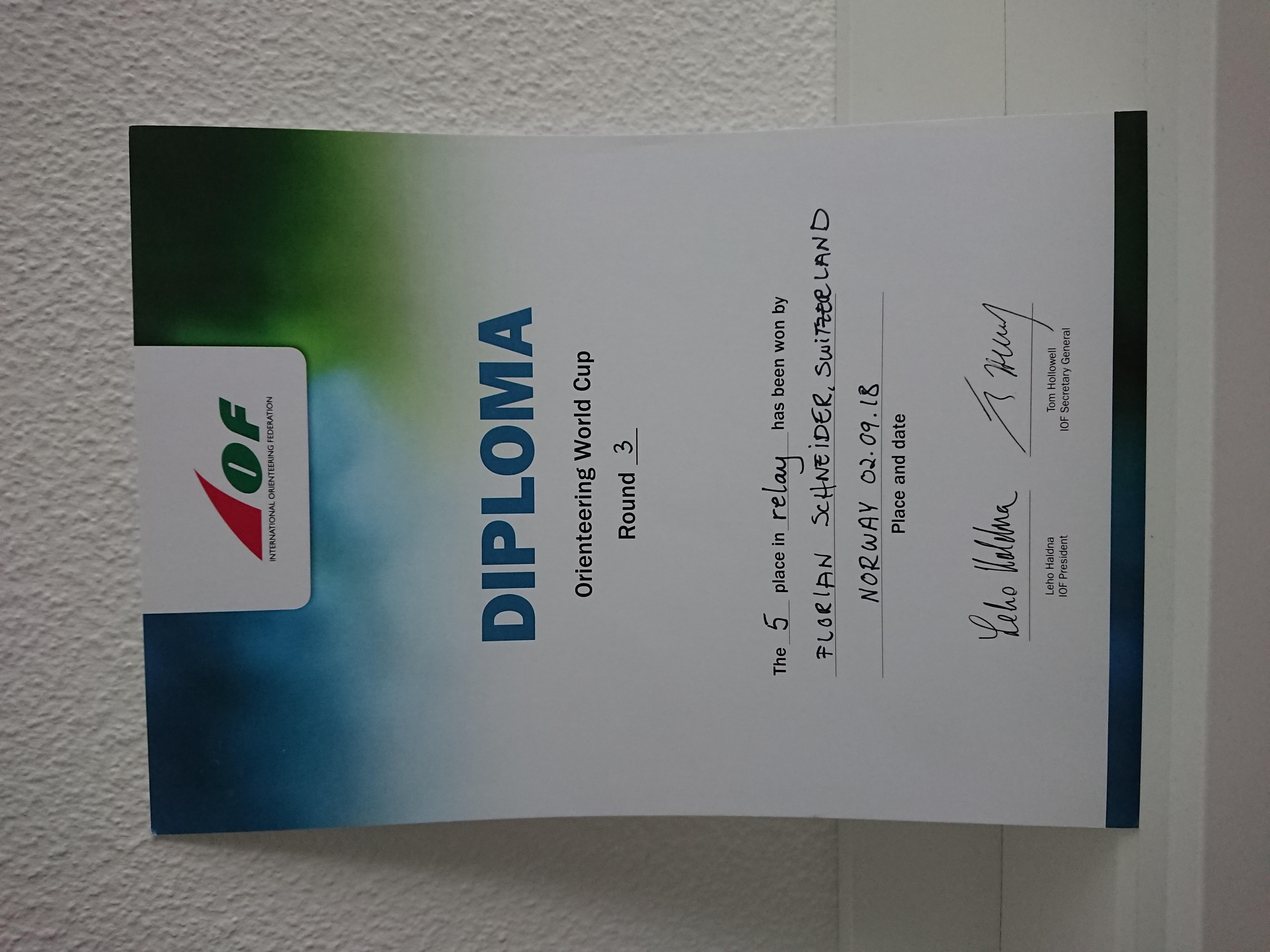 Zweites Diplom auf Weltcup-Stufe 5. Rang Staffel