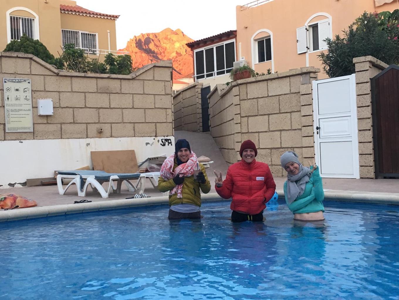 Recovery nach einem harten Hügelintervall im Pool.